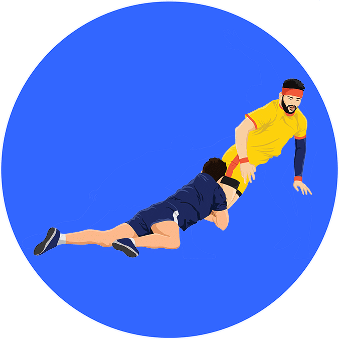 An illustration of a player defending in a kabaddi match