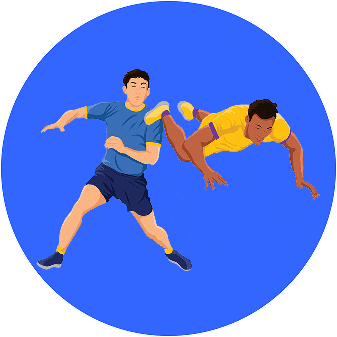 An illustration of a player escaping in a kabaddi match