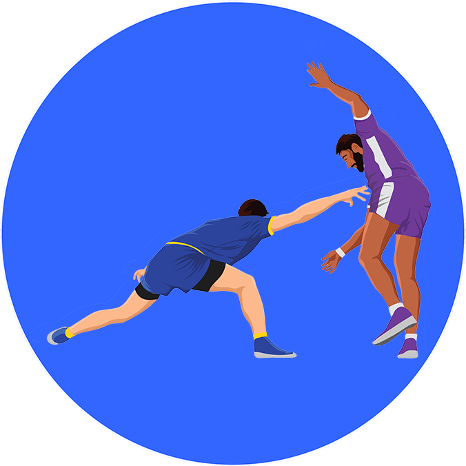 An illustration of a player attacking in a kabaddi match